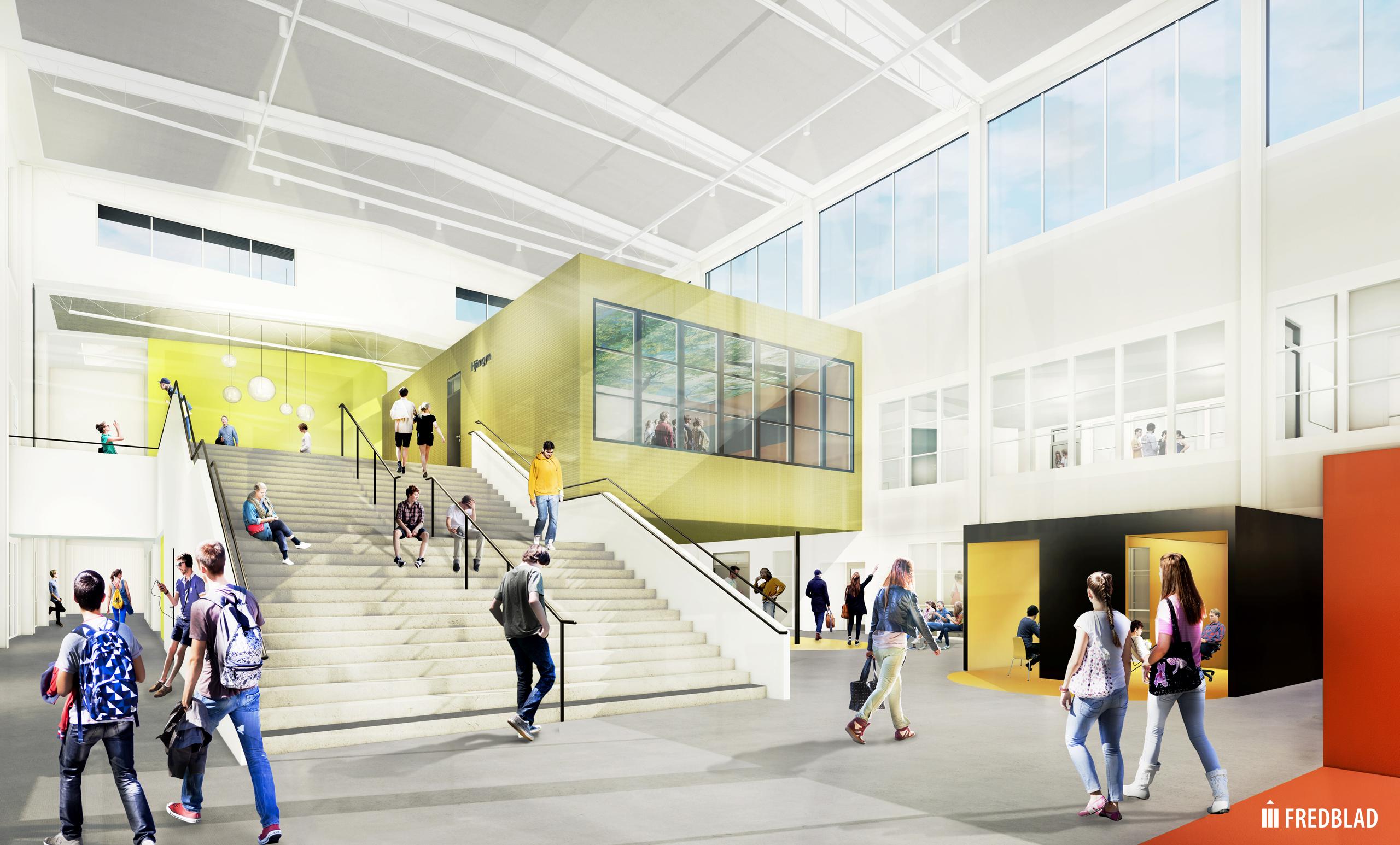 Arkitektbilden visar ritningarna på entrén på den nya skolan som ska stå klar 2020. Bild: Fredblad arkitekter