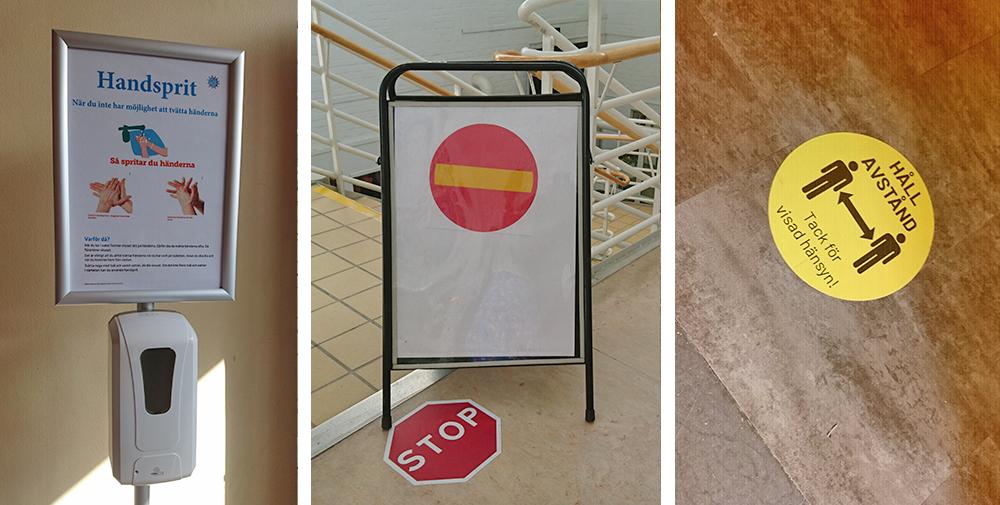 Några av åtgärderna som vidtagits för att minska smittrisken på Nacka-skolan. Foto: Maria Leijonhielm