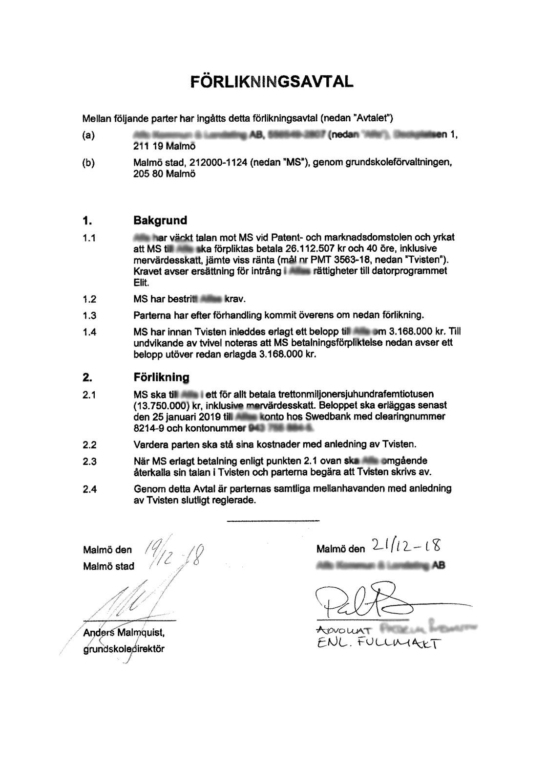 Förlikningsavtalet där Malmö stad fick betala skadestånd.