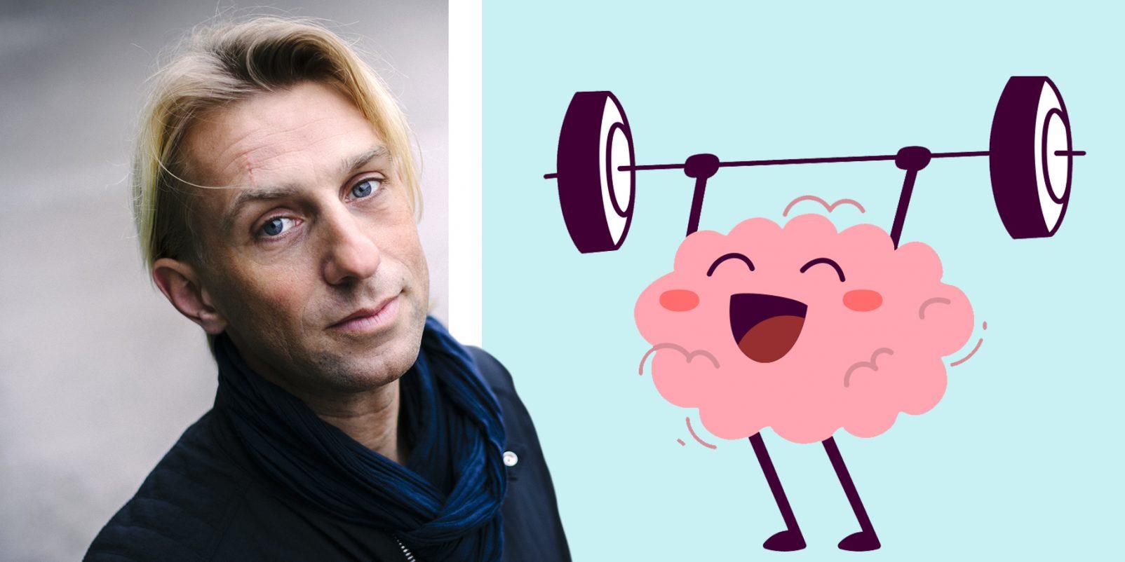 Anders Hansen och en illustration av en hjärna som ägnat sig åt tyngdlyftning.