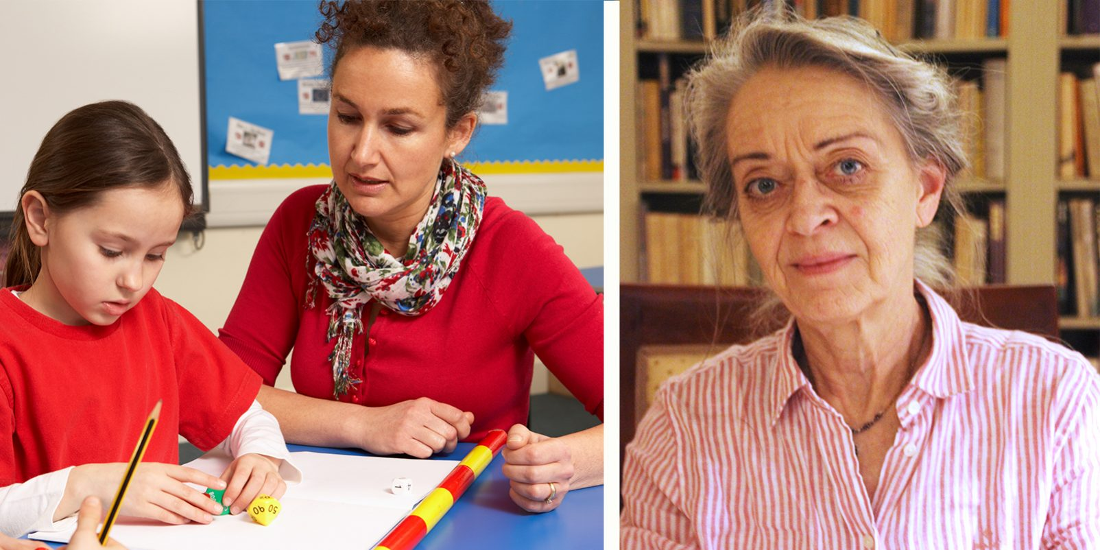 Lärare och elever i klassrum och Kerstin Göransson, professor i specialpedagogik.