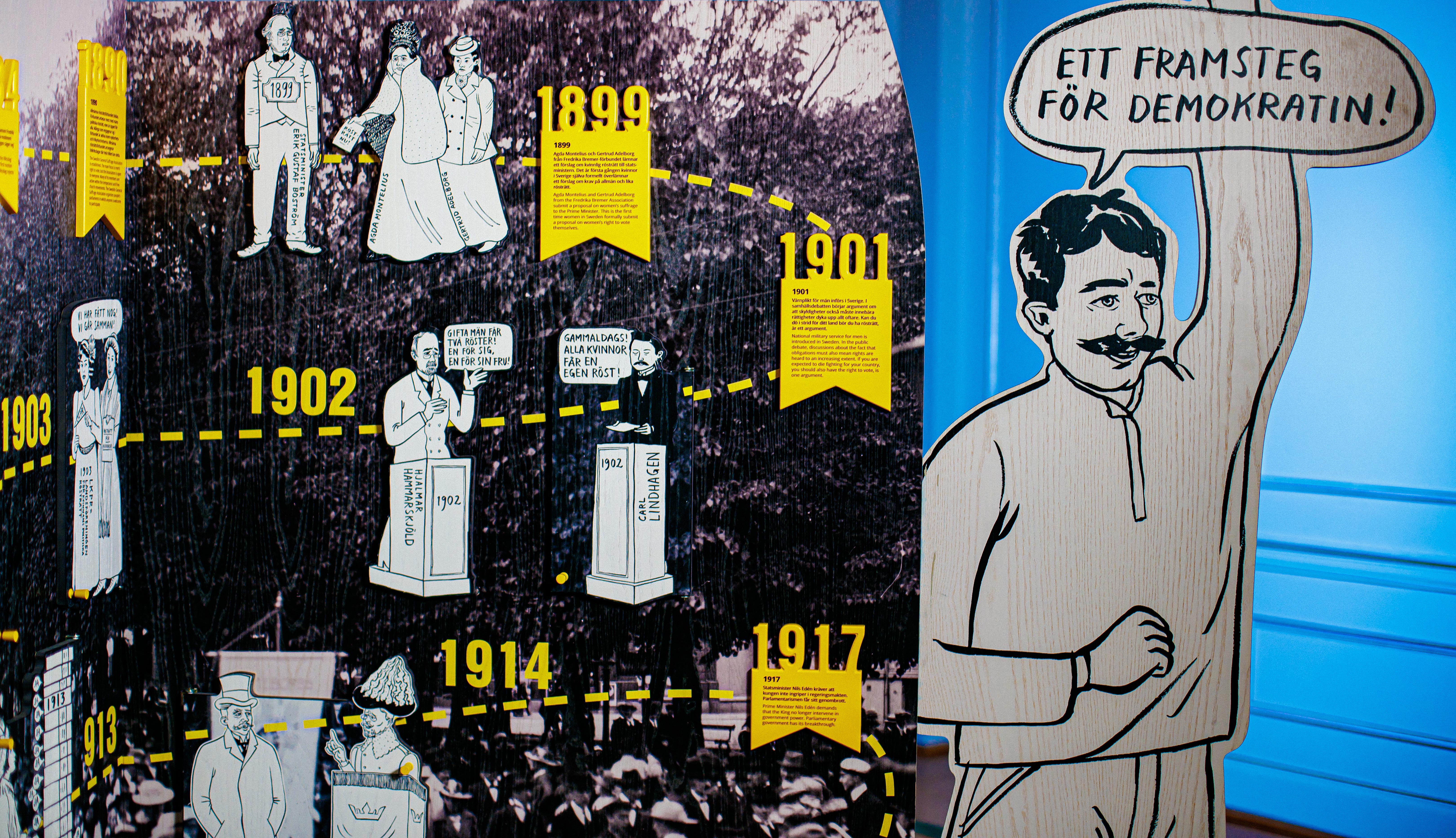 Utställningen Fira demokratin står i Sammanbindningsbanan i Östra riksdagshuset i Stockholm. Foto: Riksdagsförvaltningen