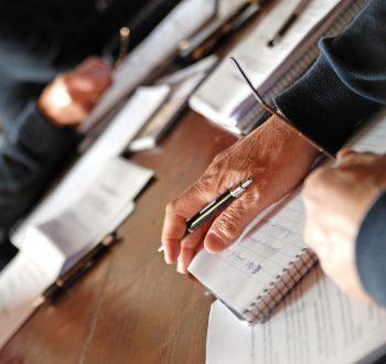 Möte, förhandling, anteckningsbok, lärare