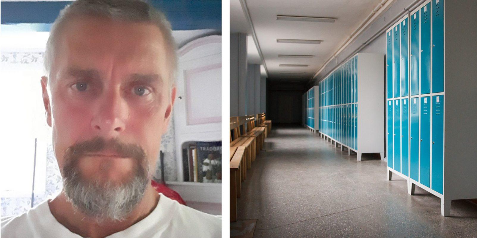 LR:s Lennart Hellsborn och skolkorridor med skåp och bänkar.