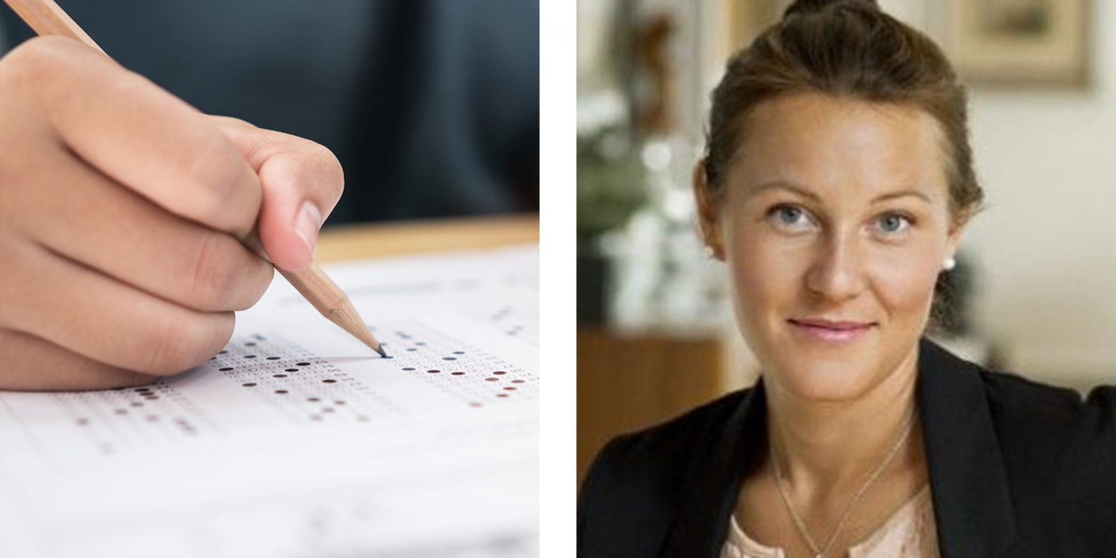 Nationella prov och Fanny Hemmingsson, projektledare vid Skolinspektionen.