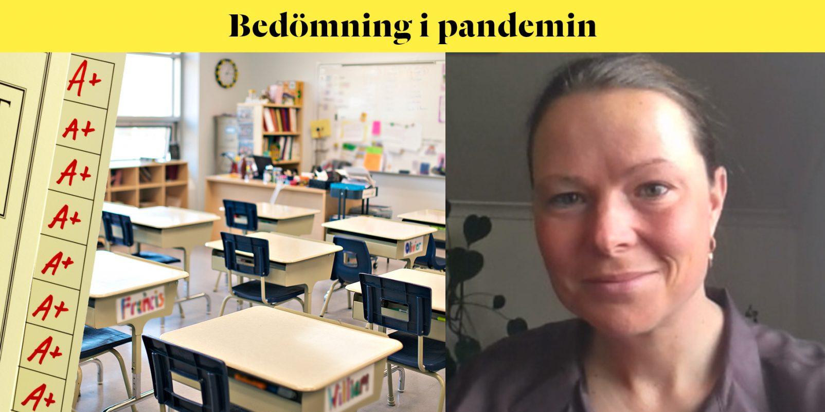 Gymnasieläraren Karin Kers och tomt klassrum.