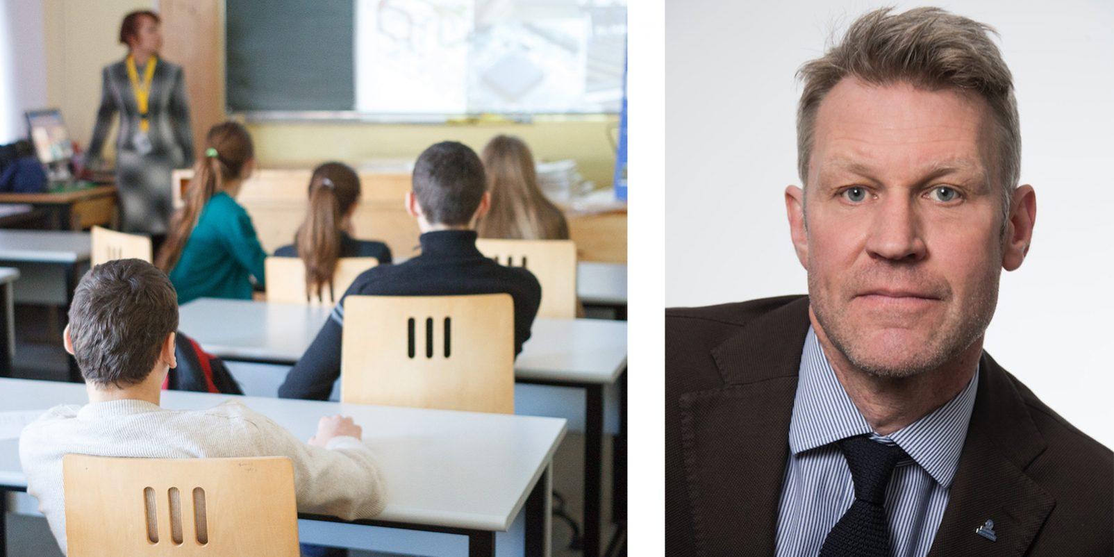 Klassrum med elever och lärare och LR:s vice ordförande Svante Tideman.