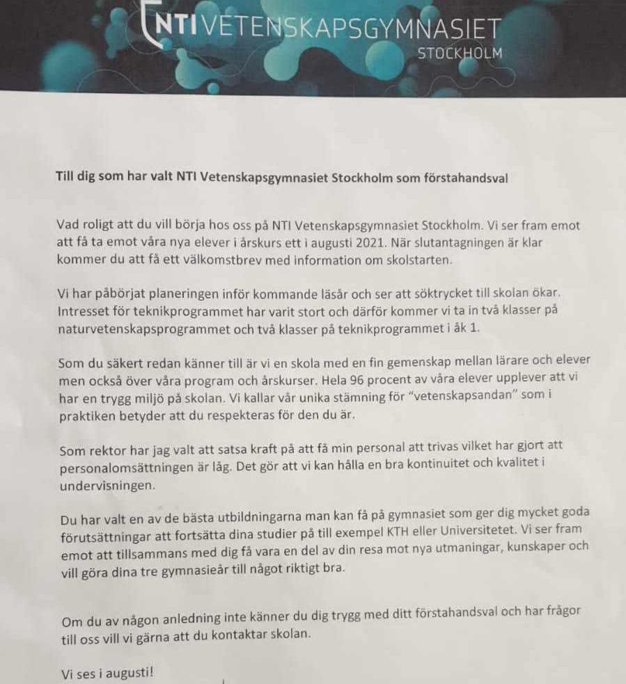 Brevet från NTI Vetenskapsgymnasiet i Stockholm, som skickades till elever i årskurs 9.