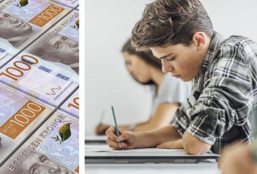 Klassrum, pengar, prov, elever