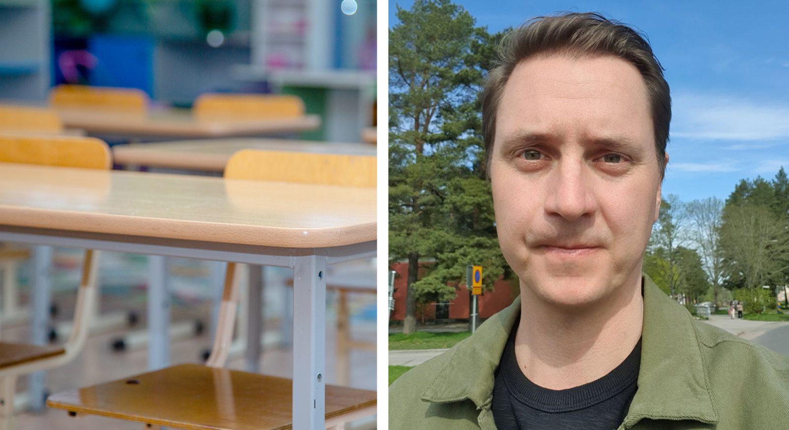 Klassrum och Daniel Rosin, lärare på Polhems gymnasiesärskola och skyddsombud för LR i Gävle