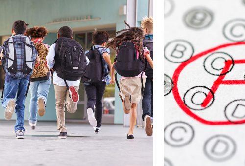 Grupp av elever springer i skolan och betyg.