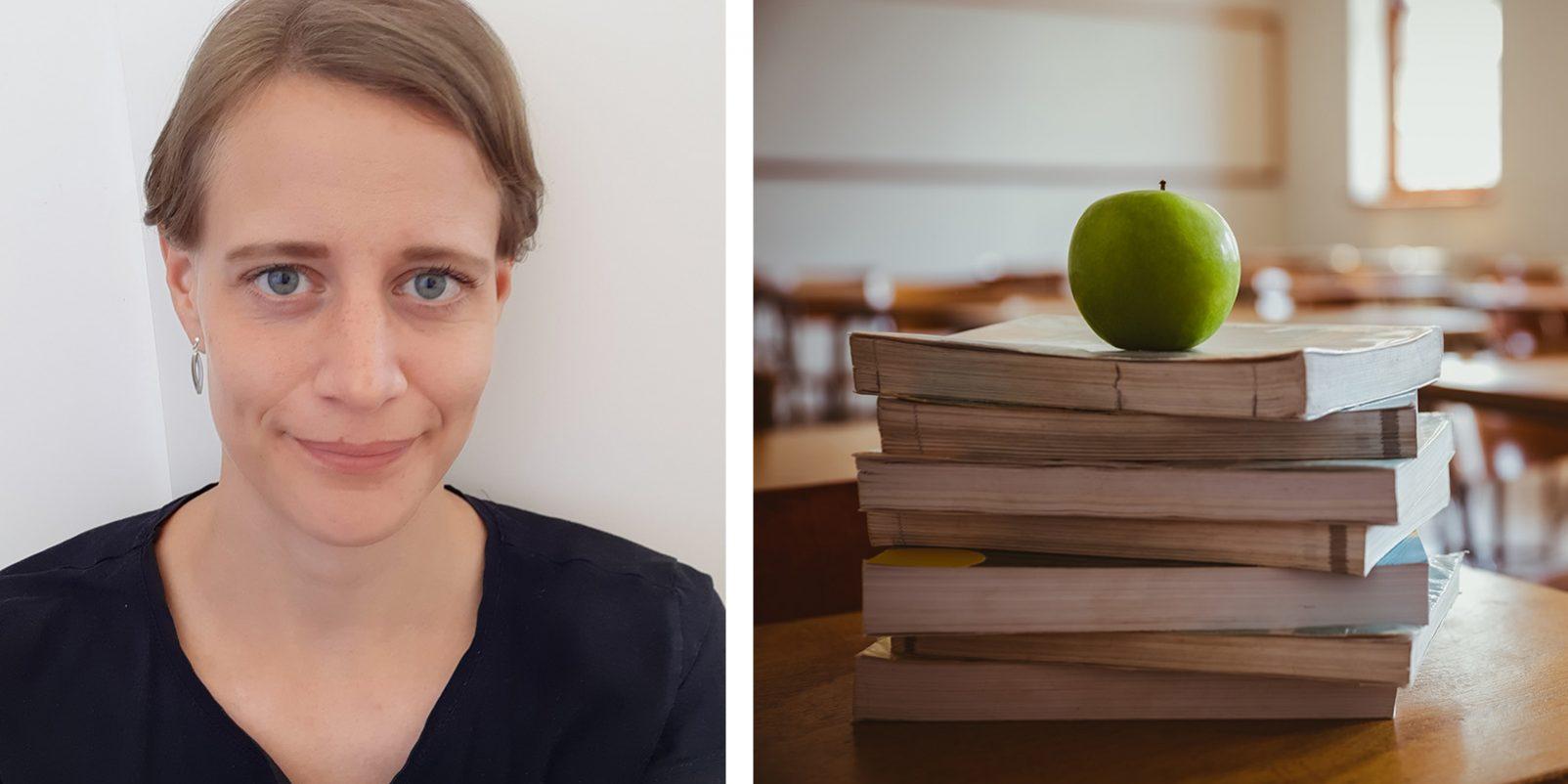 Elina Ekberg och böcker i klassrum.