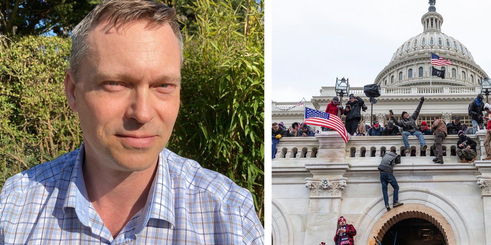 Fredrik Clausson hotades av en SD-politiker efter en lektion om stormningen av USA:s kongressbyggnad Kapitolium.